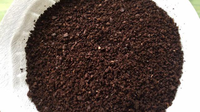 ①深煎りの豆をやや細挽きにします。