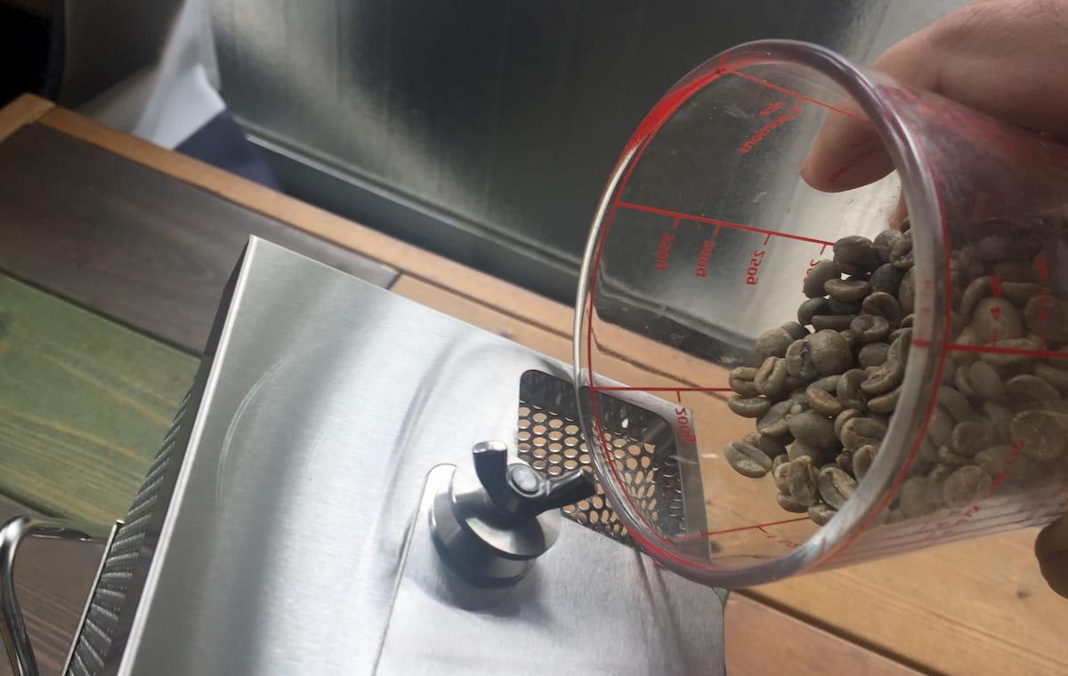 ①生豆を投入