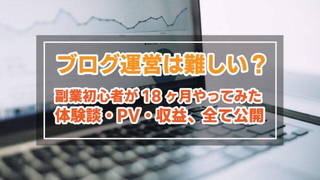 ブログ運営は難しい?副業初心者18ヶ月間の【体験談・PV・収益】公開します。